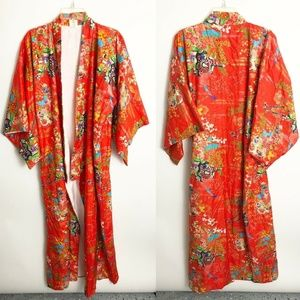 Silk Japanese Kimono Red Floral Long Duster